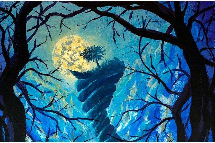 Big moon tree on top of terrible mountain in night river art