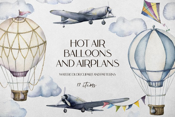 Hot air balloons and airplanes. Watercolor clipart