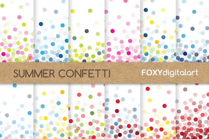 Confetti digital paper scrapbook diy wedding invitations