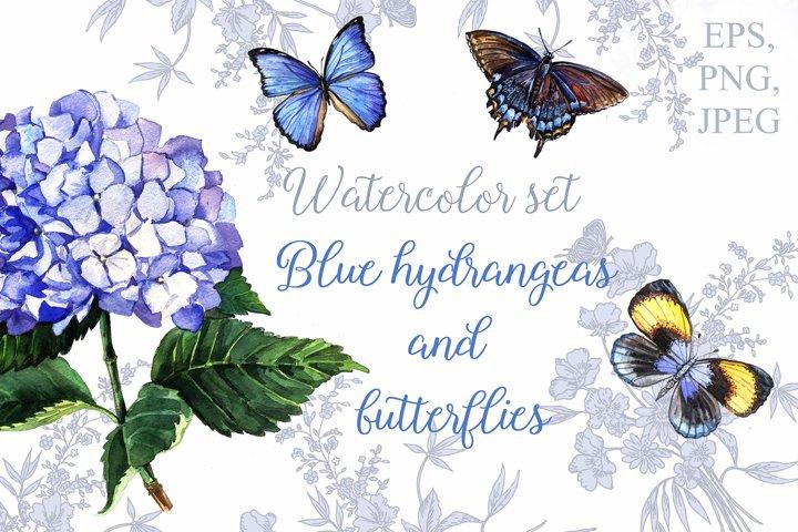 Blue hydrangeas and butterflies