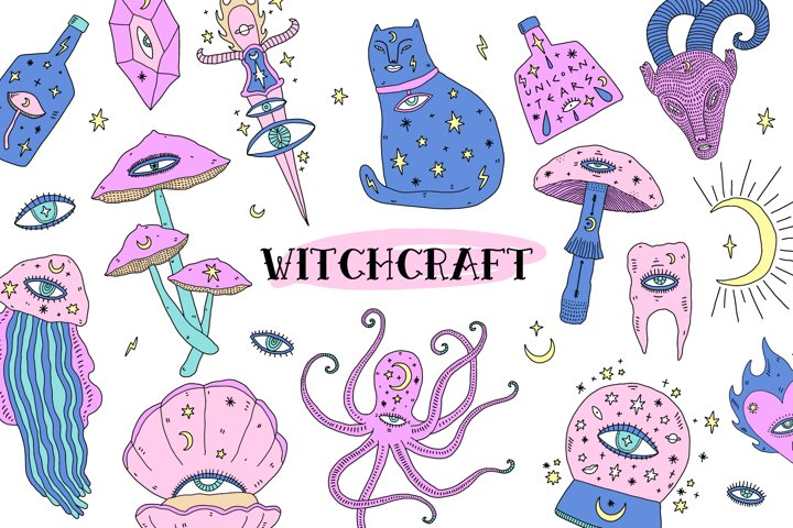 Witchcraft Elements Vector Set