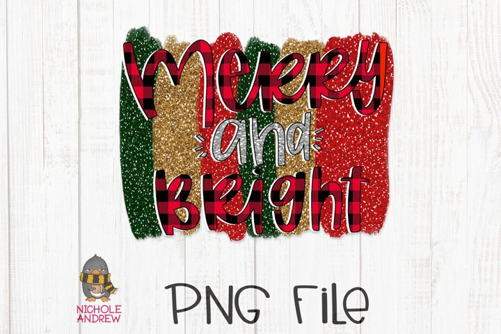 Merry And Bright - A Hand Lettered PNG File