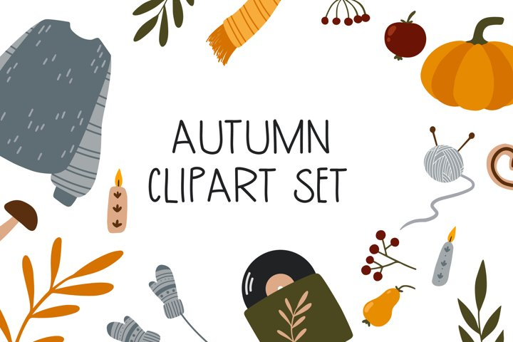Autumn Clipart Set - 23 hand drawn fall elements