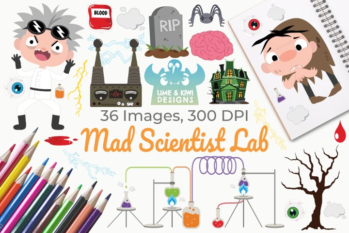 Mad Scientist Lab Clipart, Instant Download Vector Art