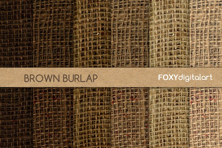 Brown burlap linen jute canvas digital paper fabric textures