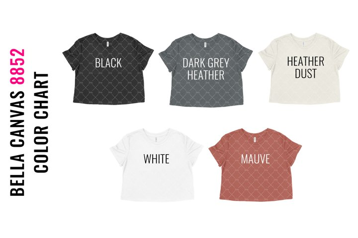 Bella Canvas 8882 Cropped Tshirt Mockup Color Chart