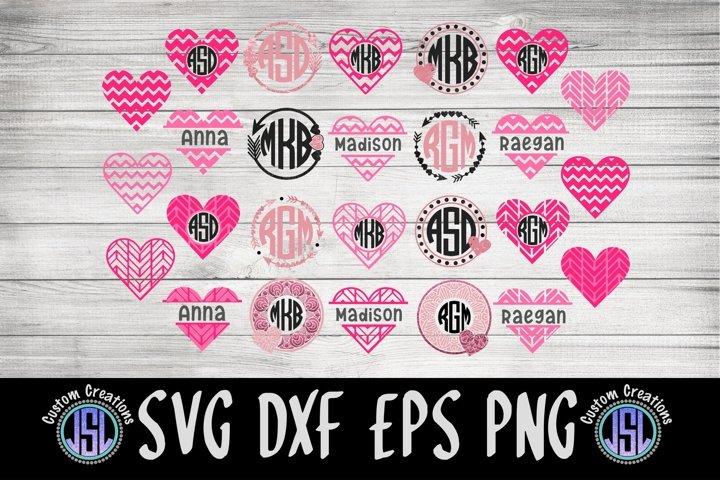 Valentine Monogram Frames Bundle Set of 26 | SVG DXF EPS PNG
