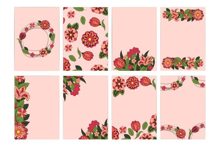 Wedding Set postcards, backgrounds. Floral ornament