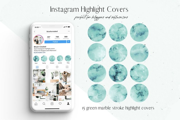 Green Marble Instagram Highlight Covers