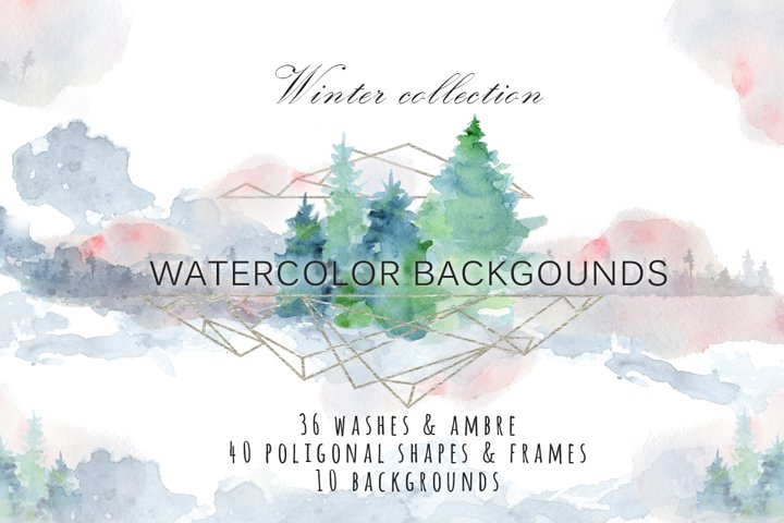 Winter watercolor backgrounds, Christmas textures