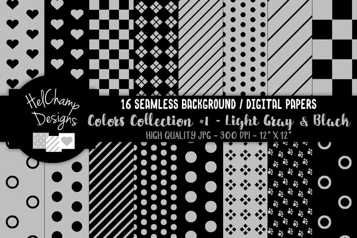 16 seamless Digital Papers - Light Gray and Black - HC109