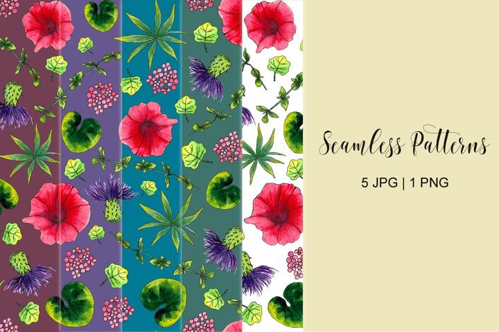 Watercolor meadow flowers and leaves sublimation patterns