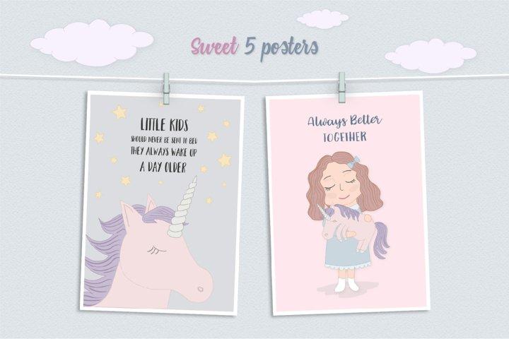 Cute Funny Unicorn Illustration Set - Free Design of The Week Design0