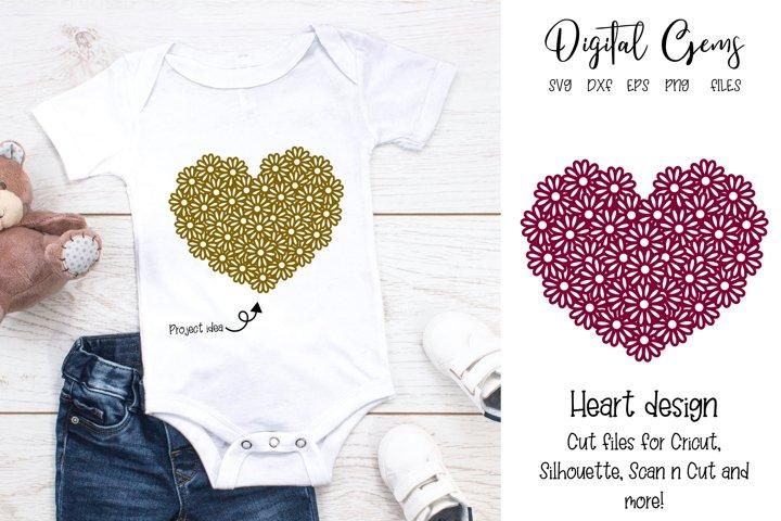 Flower heart design. SVG / DXF / EPS / PNG files.