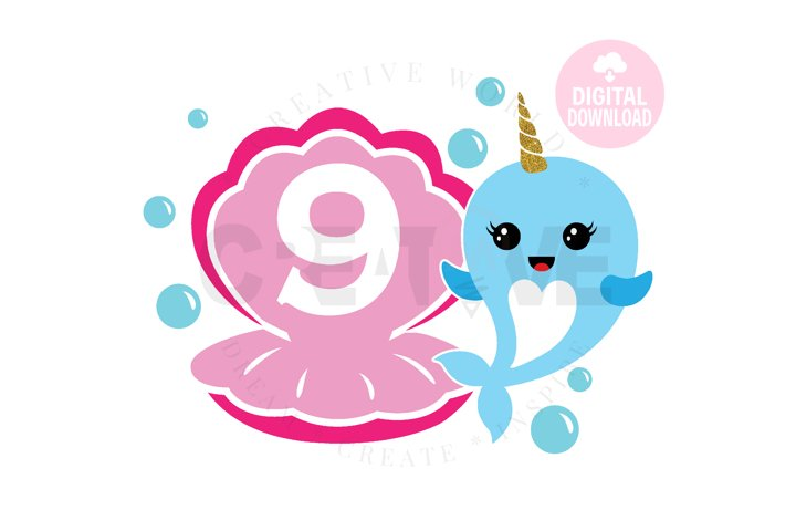 9th Birthday svg | My 9th Birthday svg | Narwhal Birthday