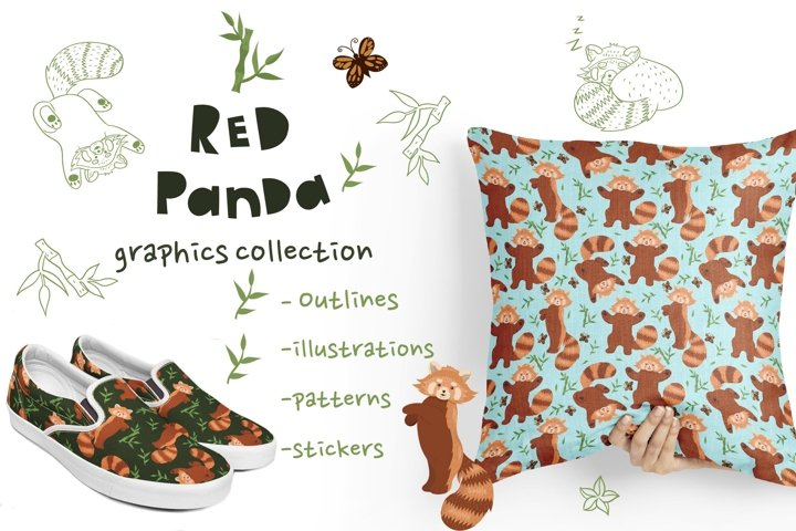 Collection of graphics with cute red pandas