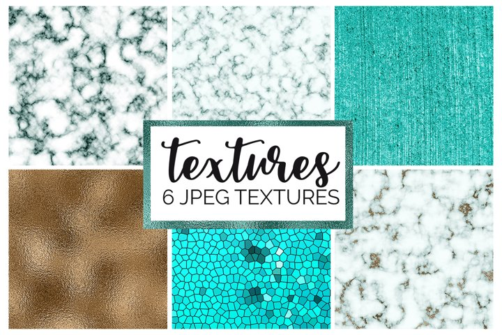 Marble and Foil Texture Digital Papers | Gold | Teal | JPEG
