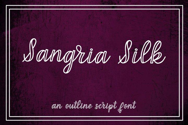 Sangria Silk - an outline script font