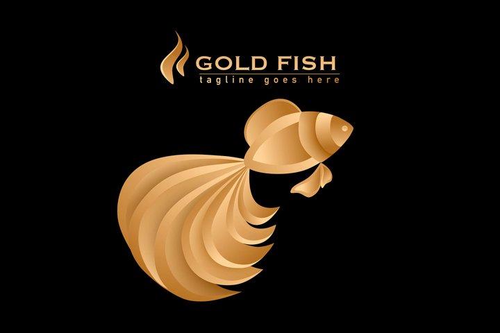 Gold Fish luxurious vector logo