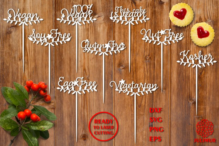Vegan cake toppers bundle, Diet cake toppers, laser cutting
