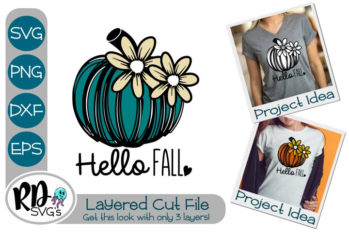 Hello Fall - A Layered Flower Pumpkin Autumn Cricut Cut File