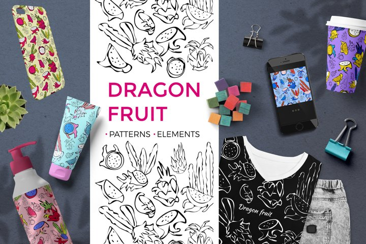 Dragon fruit. Patterns and design