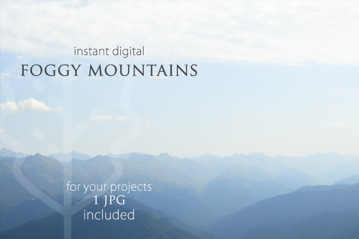 Foggy mountains background. Photography