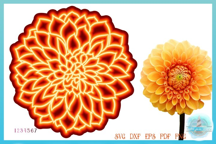 3D Layered Design | 3D Dahlia Floral Mandala SVG