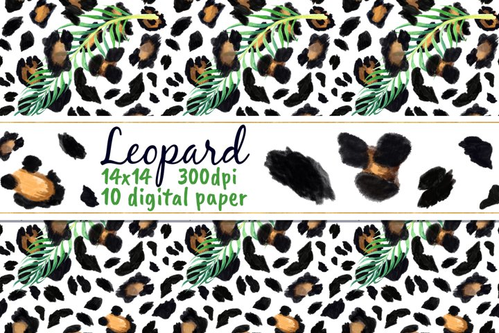 Tropical Leopard Digital Paper Safari Jungle