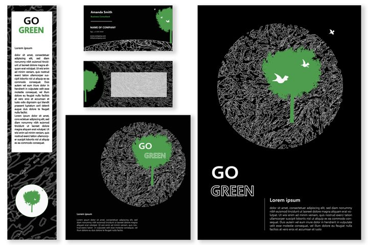 GO GREEN,black template of banner,flyer,brochure,visit card
