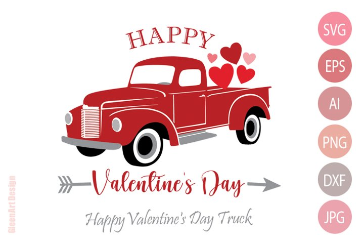Happy Valentines Day Truck with Hearts