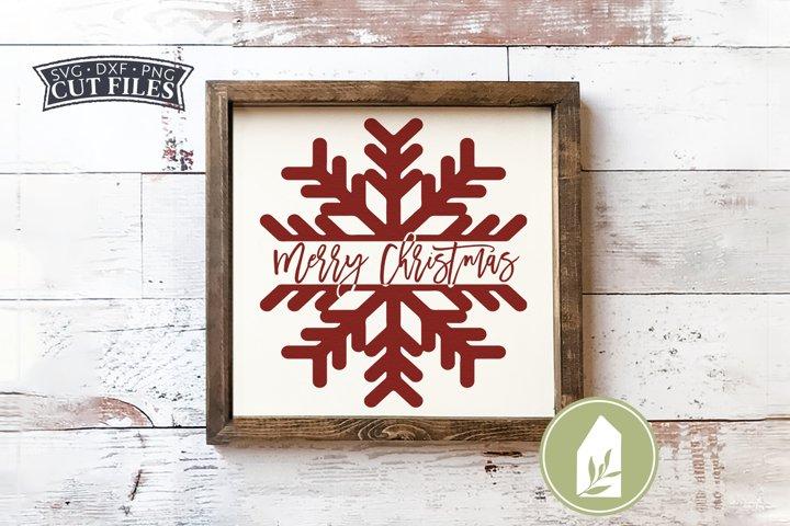 Merry Christmas Snowflake SVG, Farmhouse Christmas Wood Sign
