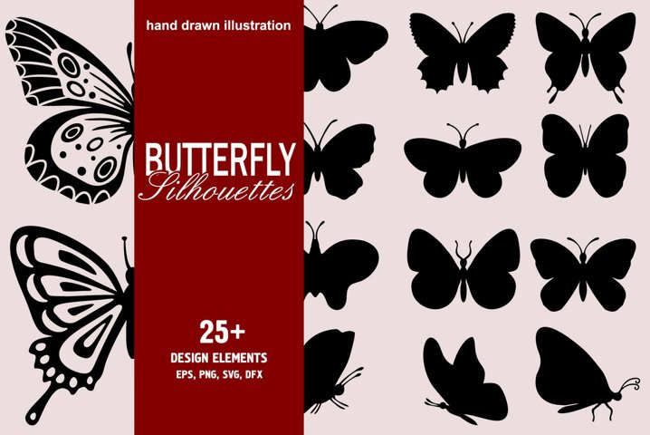 Butterfly Silhouettes Collection. For Crafters