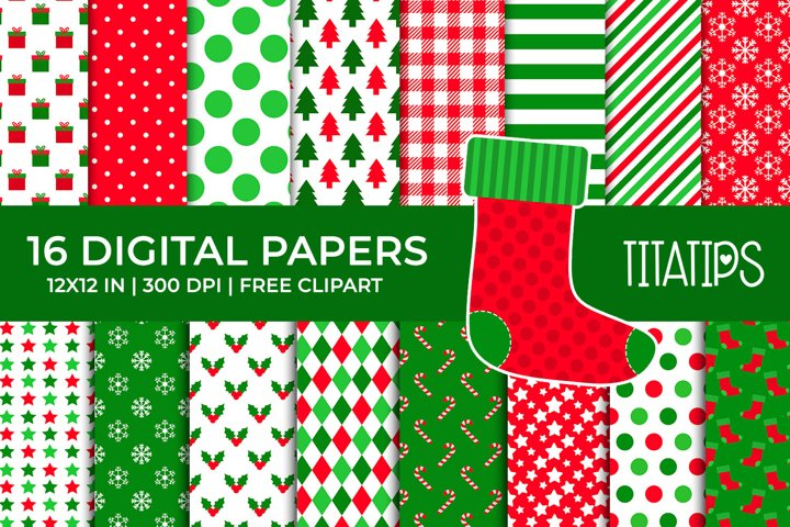 Christmas Digital Papers Set, Free Xmas Sock Clipart