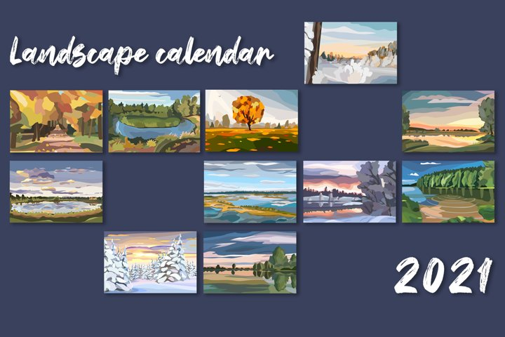 12 vector landscapes with seasons for calendar