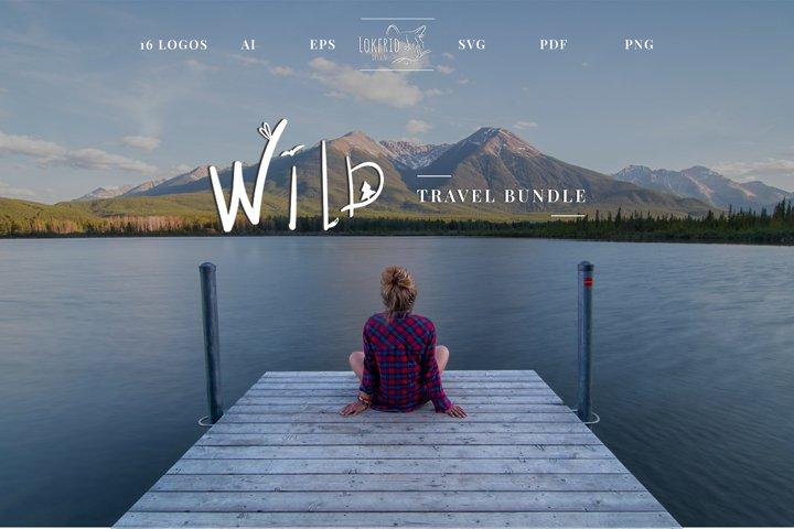 Wild. Travel bundle. 16 Doodle style illustration.