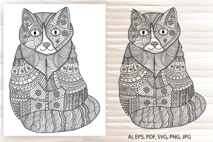 Cat coloring page, cat mandala, adult coloring, hand-drawn