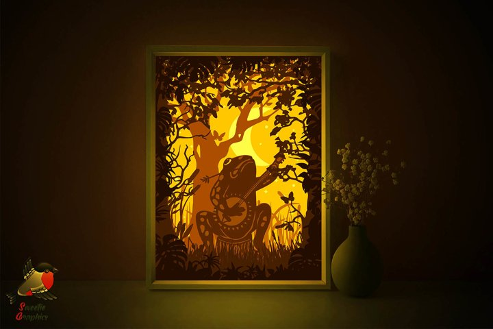 Musician Bonjo Frog Lightbox Forest Shadow Box SVG Template
