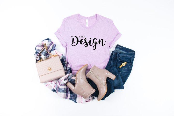 Bella Canvas 3001 Heather Prism Lilac T-shirt Mockup Unisex