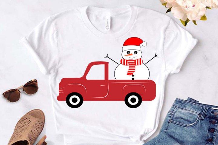 Christmas svg, Snowman Red Truck svg, Snowman Red Truck Cric