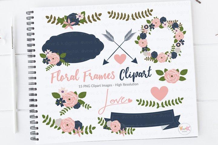 Floral Frames Clipart, Floral Bouquets Clipart, Frames Clipart Set, Navy and Pink Clipart, Navy and Pink, Digital Floral Elements, Wreath