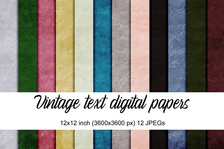 Vintage text digital papers