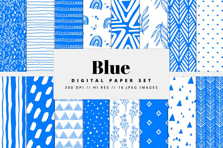 Blue Digital Paper Set