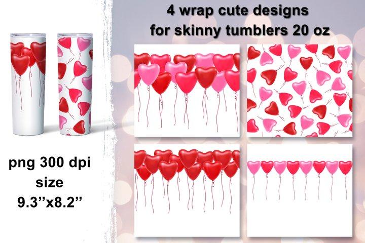 Tumbler sublimation design, hot air balloon hearts, 20 Oz Tu