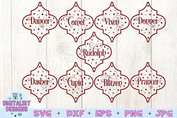 Reindeer Names Arabesque Tile SVG Bundle, Christmas SVG