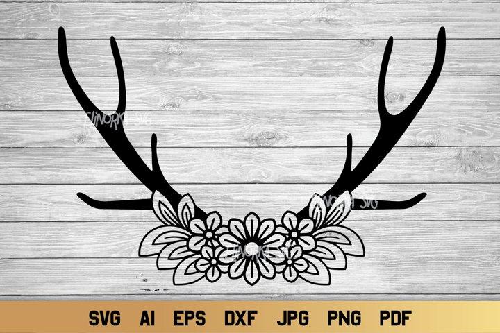 Deer Antler SVG | Boho Antlers svg | Floral Cut File