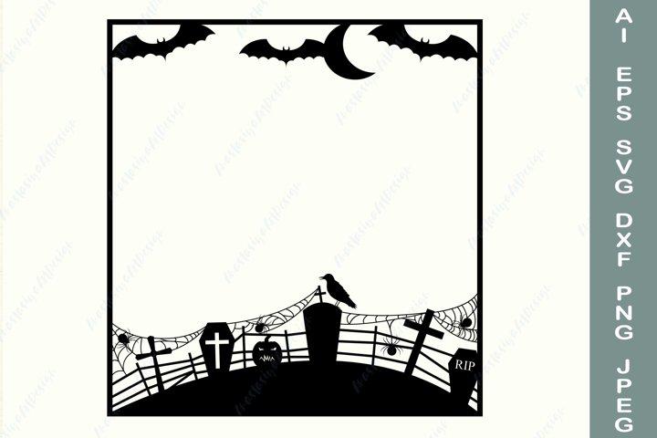Halloween frame with Graveyard Bat Spider web svg, Border