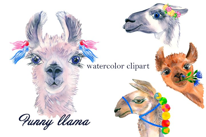 Watercolor Lama Clipart - alpaca swith flowers, portrait