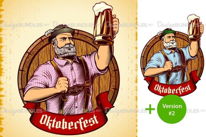 Vector Bavarian Oktoberfest Man Beer Glass Barrel Foam Lager