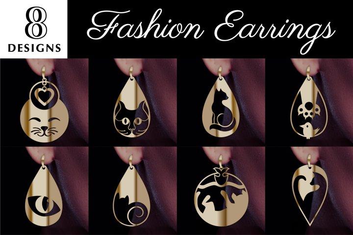 8 Cat earrings SVG, Dainty necklace, Drop earring, Laser cut